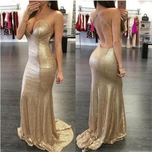 Sequined Spaghetti Straps Mermaid Long Sexy Party Evening Prom Dresses Online,PD0075