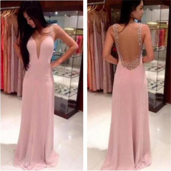 Pink V-Neck Backless Long Pretty Party Evening Prom Dresses Online,PD0076