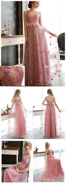 Charming Tulle Lace Up Custom Popular Party Newest Prom Dresses Online,PD0090