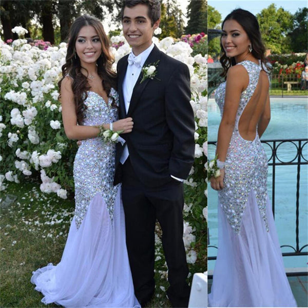 Long White Sparkle Charming Mermaid Elegant  Backless Evening Prom Dresses Online,PD0099
