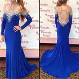 Backless Blue Long Sleeves Beading Charming Mermaid Prom Dresses, Party Dresses On Sale, NDPD0002