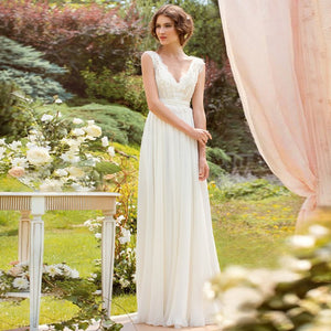 V Neck Long Simple Soft Fairy Pretty Charming Wedding dresses, Long Beach Wedding Gown, PD0310