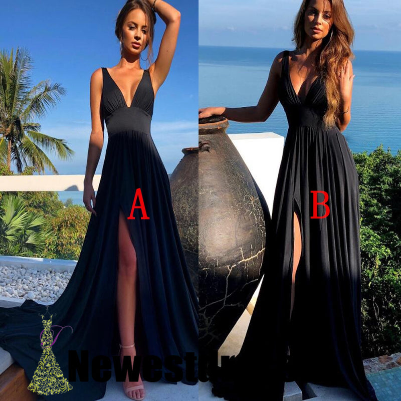 Black Long V-neck Sexy Side Split Cheap Simple Bridesmaid Dresses, Prom dresses, WG295