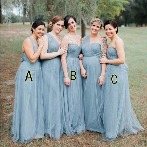 Blue Grey Cheap Long Tulle Mismatched Convertible Pretty Modest Mismatched Fairy Bridesmaid Dresses, Custom Cheap Bridesmaid dresses, WG250