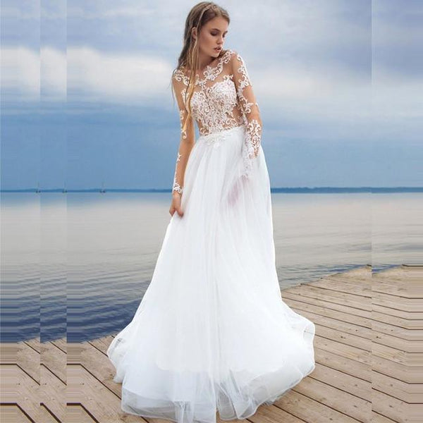 dd74a94184 Bohemian Chic Lovely Beach See-Through Cheap Unique Long-Sleeve Wedding  Dresses