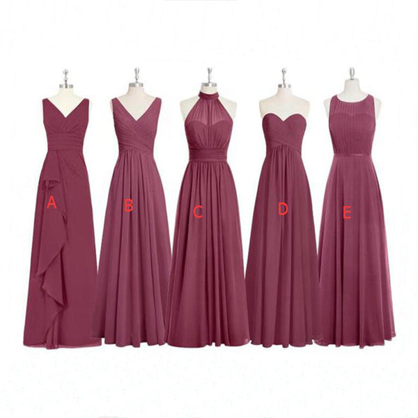 Cheap Formal Elegant Chiffon Mismatched Soft Modest  Floor-Length Bridesmaid Dresses, WG12