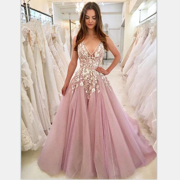 1dbf623407 Cheap V Neck A-line Lace Pink Long Evening Prom Dresses