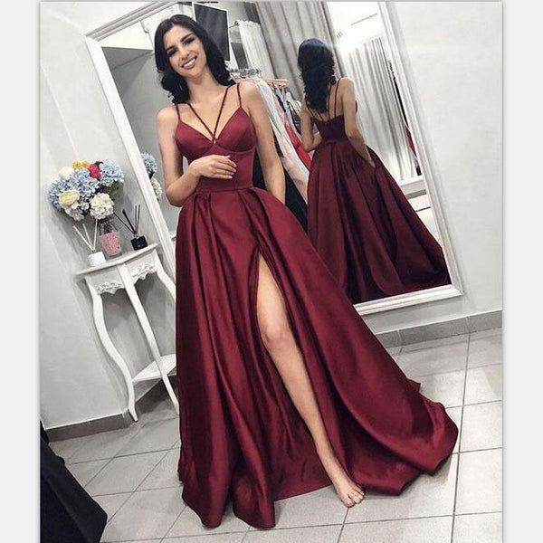 ff479fa8d68 Elegant A-line Burgundy Simple Cheap Satin Prom Dresses