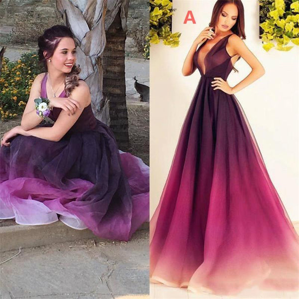 fd99df8883 2019 Gradient ombre deep V-neck Best Sale Prom Dresses. Ombre color from  burgundy