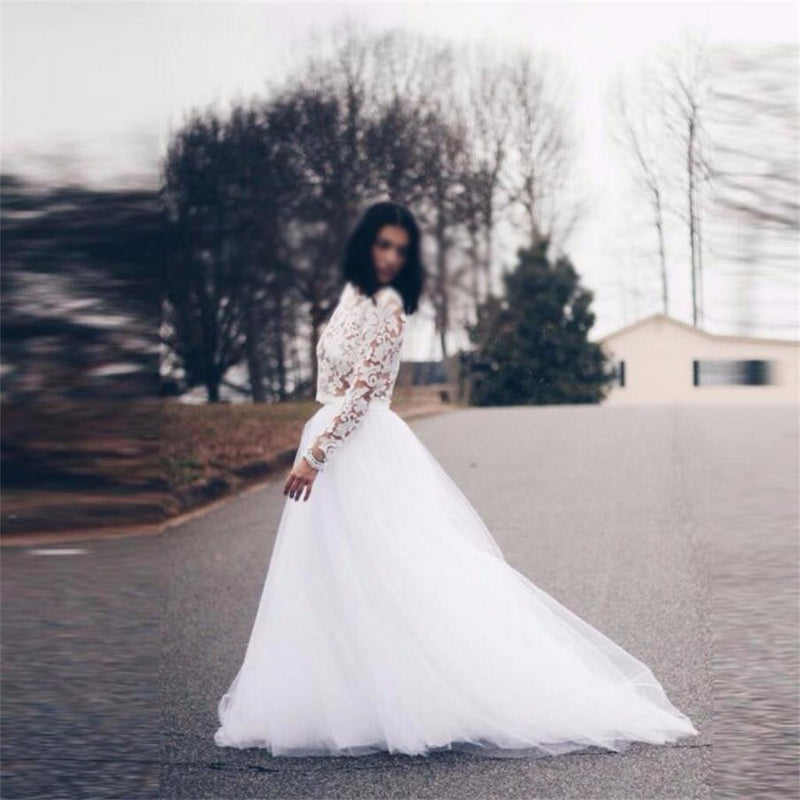 Lace Long Sleeves Tulle Charming Most Popular Wedding Dress, Pretty Prom Dress, WD0251