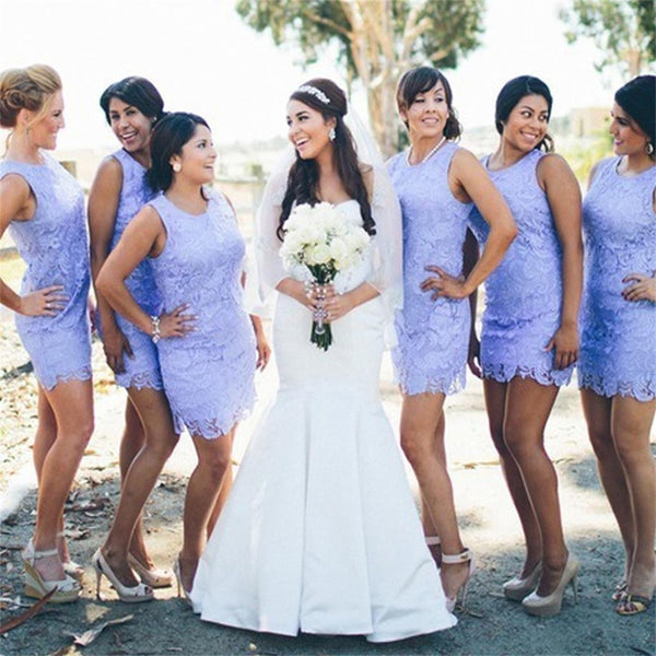 Lilac Short Fashion Cheap Lace Round Neck Bridesmaid Dresses, Party Dress,  NDBD0004