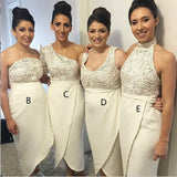 Mismatched Different Ivory Lace Top  Newest Design Beautiful Elegant Formal Bridesmaid Dresses, WG288