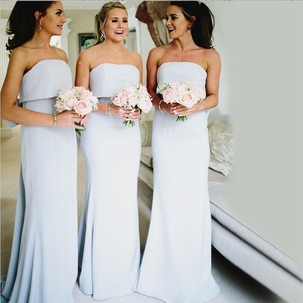 Modest Pretty Elegant Unique Mermaid Strapless Long Light Sky Blue Bridesmaid Dresses with Bow,WG290