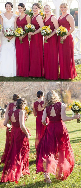 New Sexy Red Wedding Party Dress,Lace Bridesmaid Dress, Red Chiffon Bridesmaid Dresses, High Quality Party Dresses , WG252