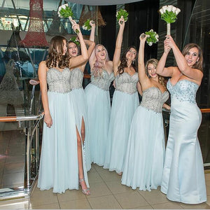 Pale Blue Sweetheart Strapless Side Split Bridesmaid Dresses, Sparkly Beaded Popular Floor-length Custom Bridesmaid dress, WG253
