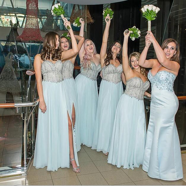 7833d9b5bf2 Pale Blue Sweetheart Strapless Side Split Bridesmaid Dresses ...