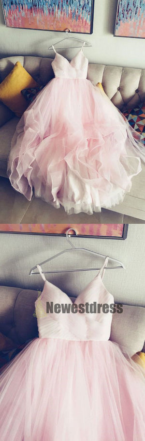 Pink  Simple Spaghetti Straps V Neck Tulle Prom Dresses, bridal dress ,Party dresses, PD0318