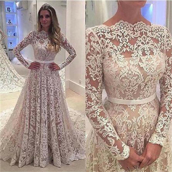 Long Sleeves Lace A-line Floor-Length with small tail Formal Simple Prom Dress ,PD0239