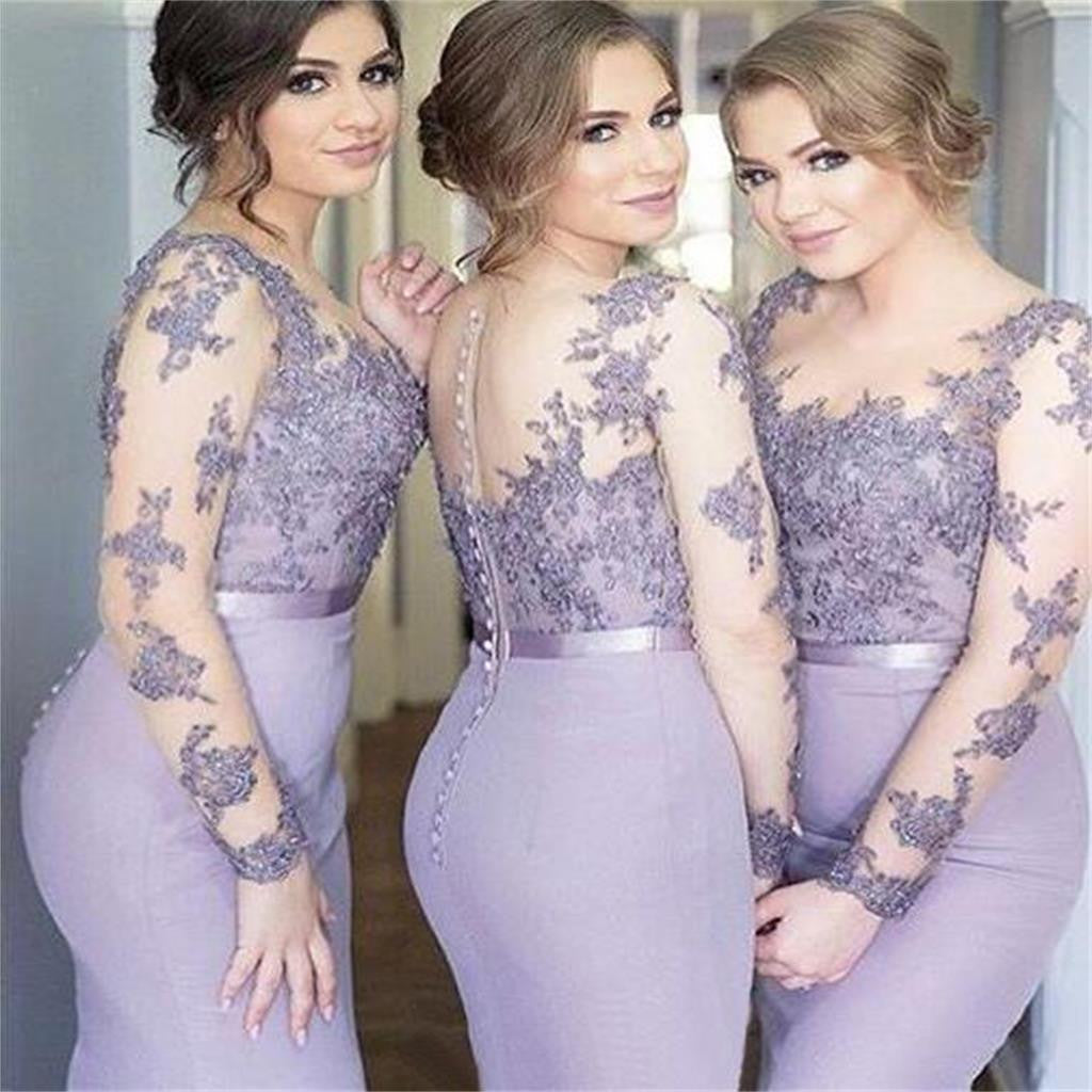 2018 Lilac Custom Long Sleeves Mermaid Scoop  Bridesmaid Dresses , Wedding Party Dresses , PD242