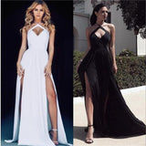 Long Chiffon Strap Sexy White and Black Slit Simple Evening Party Prom Dress  , PD0274