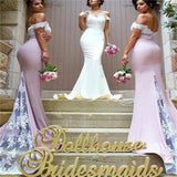 Off Shoulder Mermaid Sexy Popular Modest Bridesmaid Dresses, Party Dress,  NDBD0006