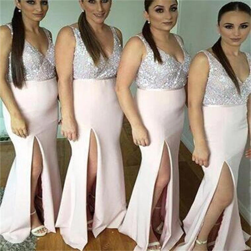 V-Neck Side Slit Long Sparkly Beautiful Fashion Bridesmaid Dresses, Party Dress,  NDBD0008