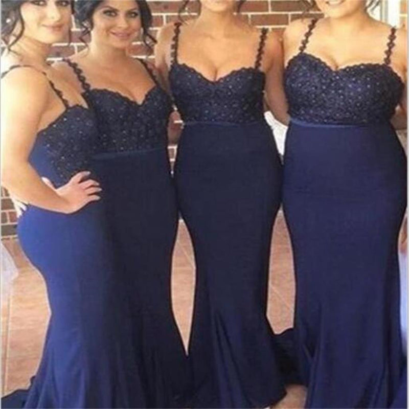 Spaghetti Straps Navy Blue Mermaid Newest Charming Bridesmaid Dresses, Party Dress,  NDBD0009