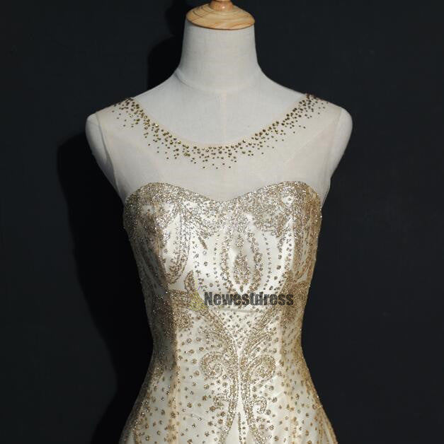 Beading Gold Sparkly Gorgeous Lace Up Back Prom Dress, Unique Design Dress for party, PD0299