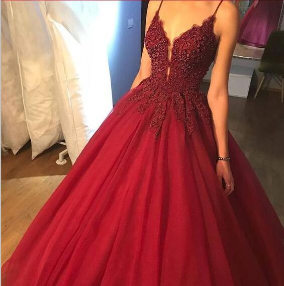 Spaghetti Straps Red Lace A-Line Formal Elegant Long Custom Prom Dresses, Evening Dresses, Party dresses, PD0321