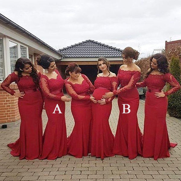 Red Lace Mermaid Long Sleeves Mismatched Long Wedding Bridesmaid Dresses , WG257