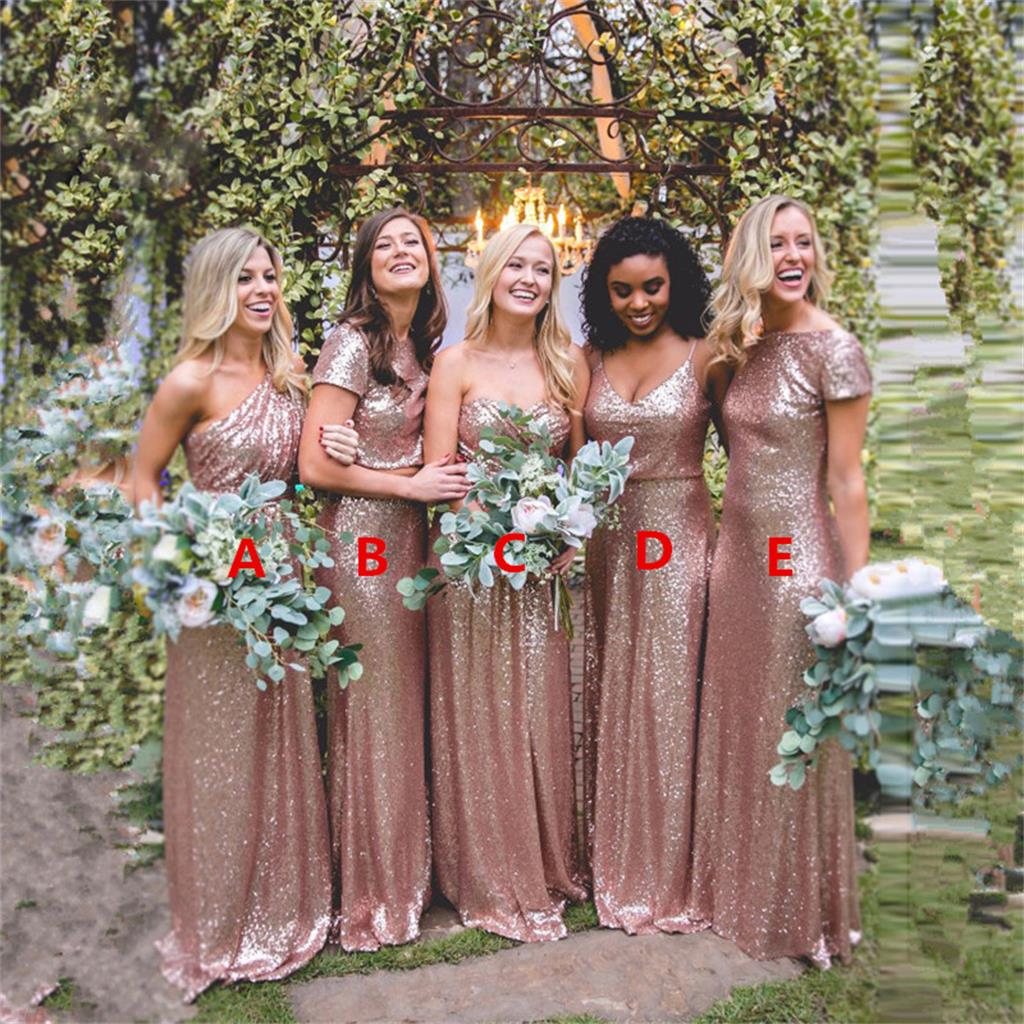 2017 Cheap Mismatched Rose Gold Sequin Custom Formal Bridesmaid