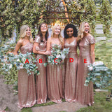 2019 Cheap  Mismatched Rose Gold Sequin Custom Formal Bridesmaid Dresses, Prom Dress, WG252