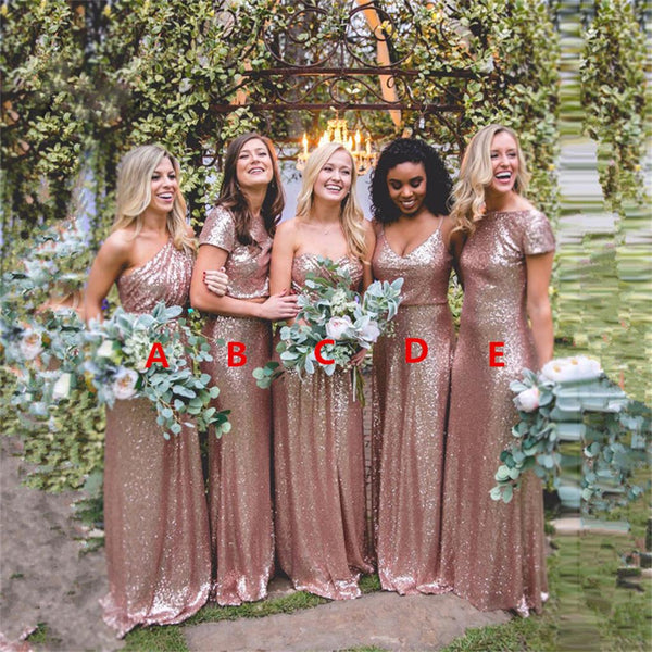 2017 Cheap  Mismatched Rose Gold Sequin Custom Formal Bridesmaid Dresses, Prom Dress, WG252
