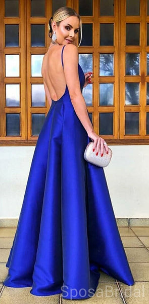 6acac1f1a08 Royal Blue A-line Simple Modest Popular Custom Cheap Long Party Prom Dresses