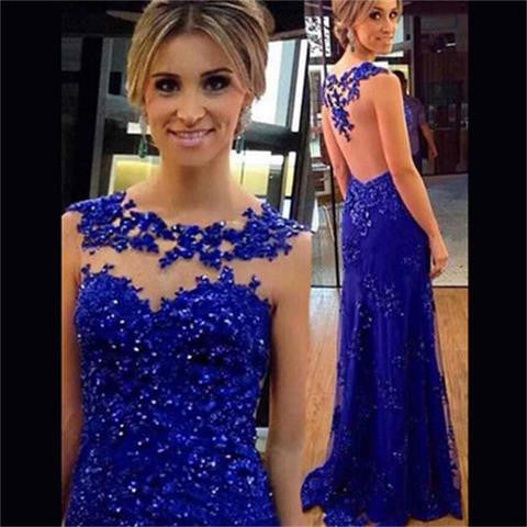 Blue Lace Mermaid See-through Back Most Popular Prom Dress, Formal Party Dress, NDPD0001