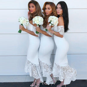 Sexy Elegant Modest Cheap Mermaid Sweetheart Short Sleeves White Bridesmaid Dresses with Lace, WG281