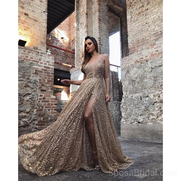 daa050c141f Spaghetti Straps Sparkly Sequin A-line Modest Formal Elegant Long Prom  Dresses