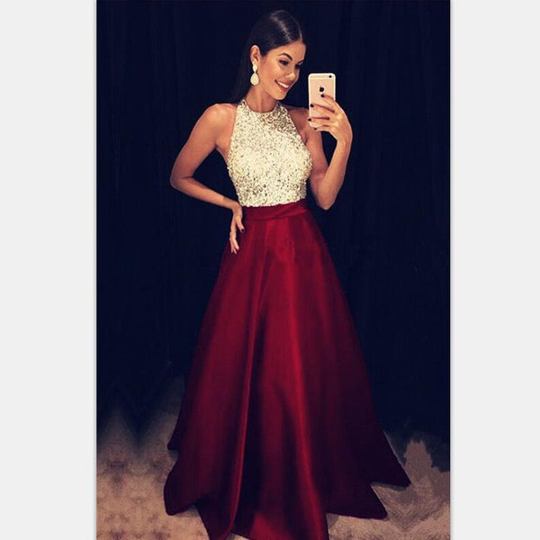 547f2128a63 Sparkly Sequins Beaded Halter Long Satin Prom Dresses Burgundy Prom Dresses