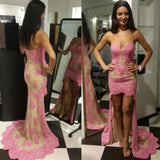 Sweetheart High Front Low Back  2017 Sexy pink Lace Prom Dress, Evening Dress, NDPD0034