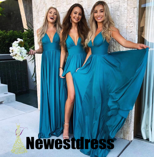 Teal Long Cheap Mismatched  Elegant New Fashion Bridesmaid Dress for wedding guest ,WG298