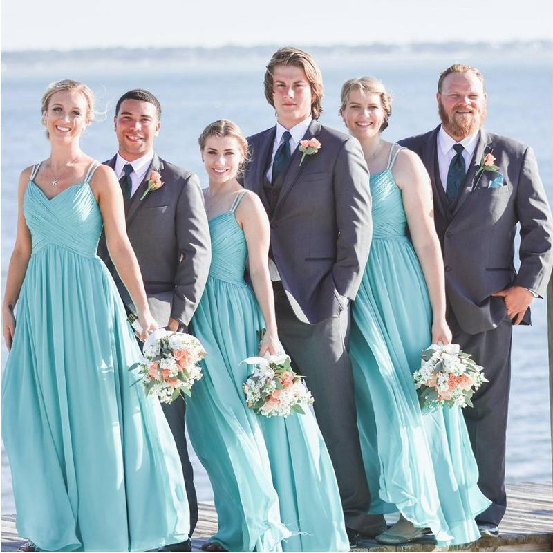 Tiffany Blue Straps Chiffon Custom Cheap Long Bridesmaid Dresses, WG241