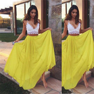 Two Pieces Yellow Chiffon Simple Charming Evening Prom dress, Party Dresses Online, NDPD0016