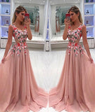 Charming Formal Unique V Neck tulle Lace Applique Long Prom Dress, Popular evening dress, PD0326