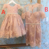Short Pink Lace Lovely Short Sleeves Pretty Homecoming dress , Junior Prom Dress ,Flower Girl's Dress ,PD0253