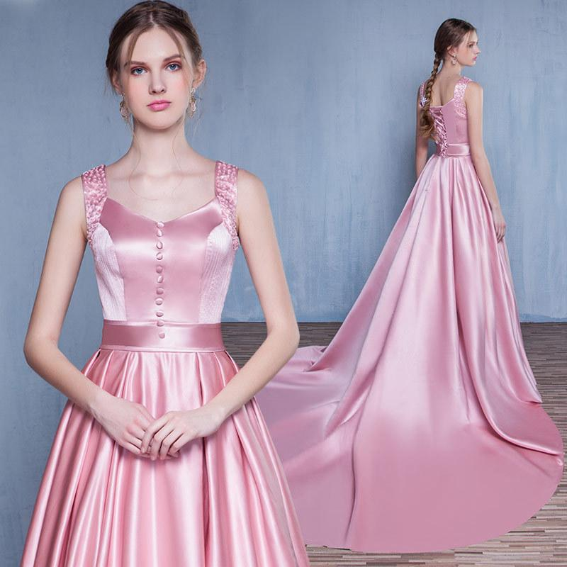Pink Simple Satin Lace up back Formal Gorgeous Prom Dresses , Prom ...
