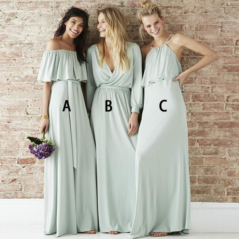 Mismatched Chiffon Light Green Long Bridesmaid Dresses Online, WG211
