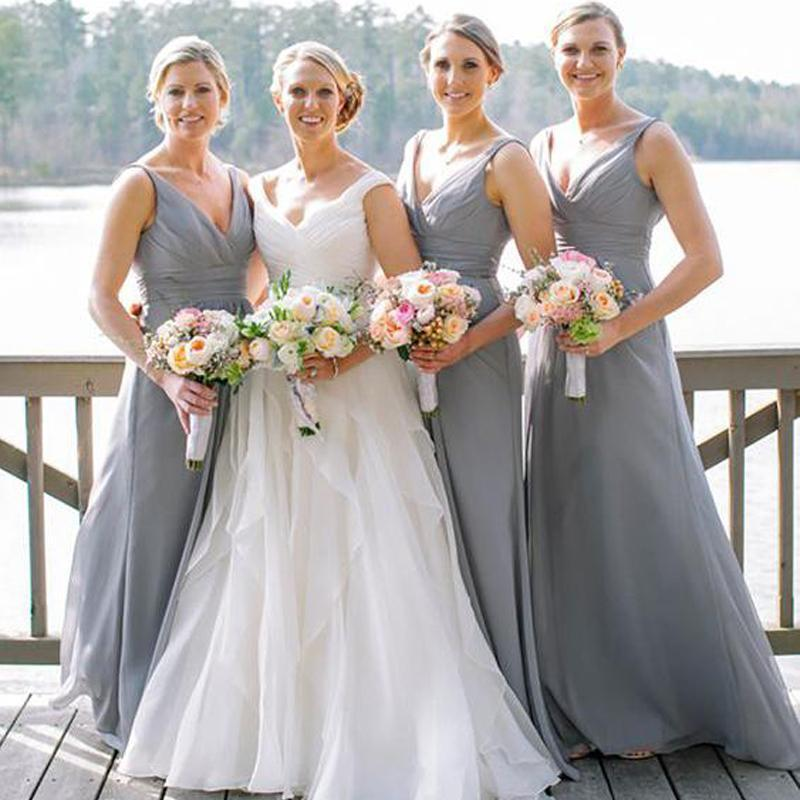 Cheap V Neck Chiffon Custom Long Bridesmaid Dresses, WG236