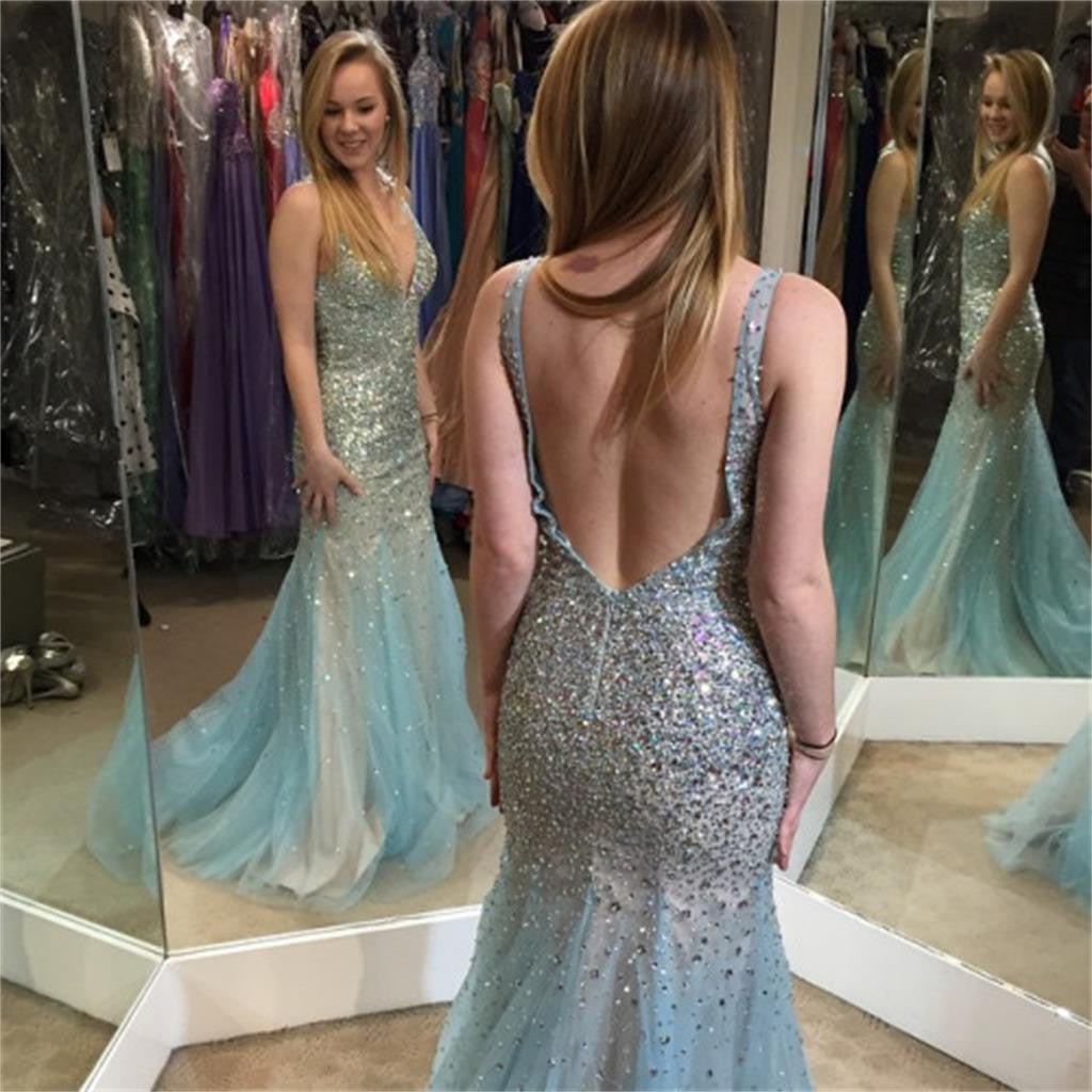 Backless V Neck Sparkly Sexy Most Popular Formal Prom Dress ,Evening Dress , PD0291