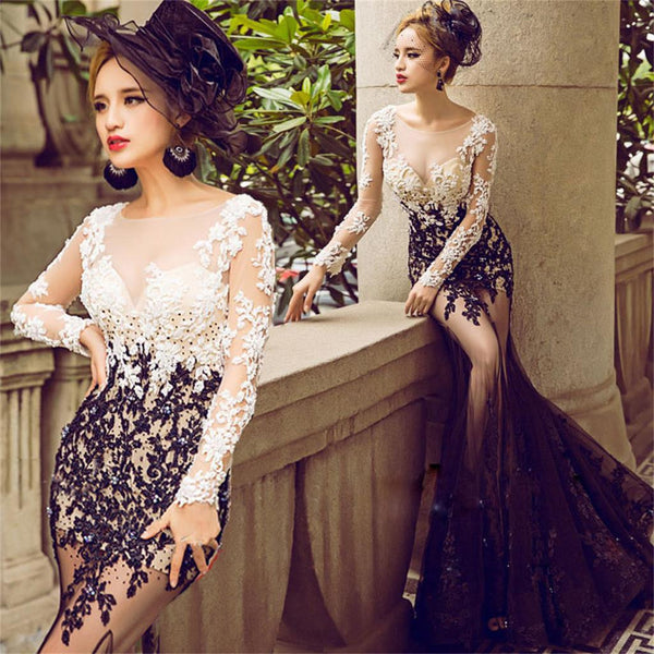 2017 cheap elegant long mermaid lace long sleeves  prom dress ,charming wedding party dress , PD0214
