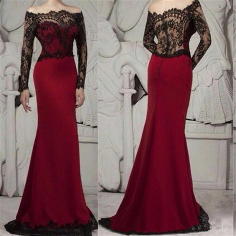 Burgundy Mermaid Long Sleeves Black Lace Sexy Elegant Prom Dress, Party Evening Dress, NDPD0023